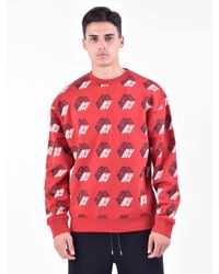 McQ Alexander McQueen Red Printed Cotton Sweatshirt for men
