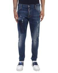 DSquared² - Blue Stretch Denim Sexy Twist Jeans for Men - Lyst