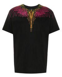 Marcelo Burlon Black Embroidered Cotton T-shirt for men