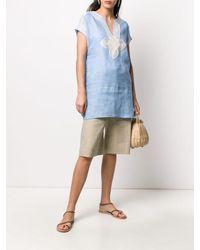 Blusa di lino con ricami di Tory Burch in Blue