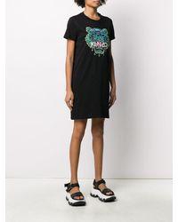 KENZO Black Embroidered Cotton T-shirt Dress