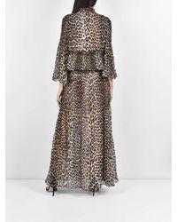 Gonna di georgette con stampa leopard di Ganni in Natural