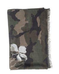 Valentino Garavani Gray Camouflage Modal, Cashmere And Silk Blend Mariposa Scarf