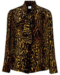 Burberry Multicolor Leopard Print Silk Shirt
