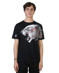 Marcelo Burlon Black Sham Tiger Printed Cotton T-shirt for men