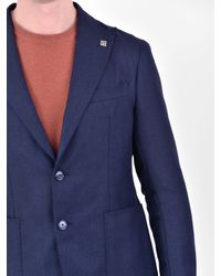 Tagliatore Blue Virgin Wool Jacket for men