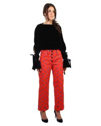KENZO Red Memento Printed Cotton Trousers
