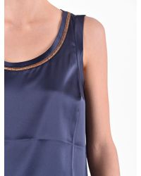 Brunello Cucinelli - Blue Silk Blouse - Lyst