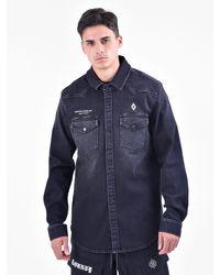 Marcelo Burlon - Blue Printed Denim Shirt for Men - Lyst