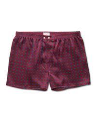 Derek Rose Classic Fit Boxer Shorts Brindisi 52 Pure Silk Satin Red for men