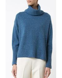 Derek Lam | Blue Turtleneck With Rib Detail | Lyst