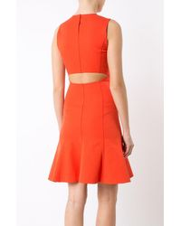 Derek Lam - Orange Fit & Flare Dress With Cut-out Back - Lyst