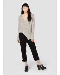 Derek Lam | Natural Long Sleeve Crossover Sweater With Ribbed Hem Detail | Lyst