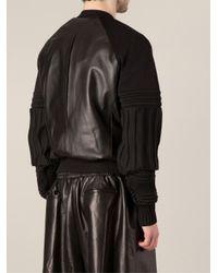 Juun.J - Black Ribbed Sleeve Bomber Jacket for Men - Lyst