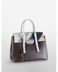 Calvin Klein - Gray White Label Kelsey Exotic Pebble Leather Metro Satchel - Lyst