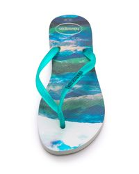 Havaianas | Blue Slim Paisage Flip Flops - Beige | Lyst