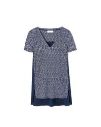 Tory Burch Blue Woven-back T-shirt