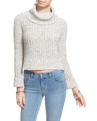 Free People | White 'twisted Cable' Turtleneck Sweater | Lyst