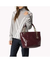 Tommy Hilfiger - Brown Patent Leather Tote - Lyst