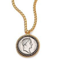 Kenneth Jay Lane - Metallic Framed Coin Long Pendant Necklace - Lyst