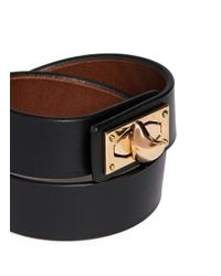 Givenchy Black Shark Tooth Double Wrap Leather Bracelet