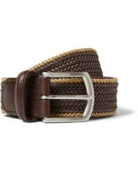 Andersons | Brown 3.5Cm Leather-Trimmed Woven-Cotton Belt for Men | Lyst