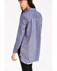 BDG Blue Meyer Shredded Flannel Shirt