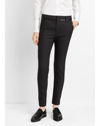 Vince - Gray Wool Trouser With Faux Leather Contrast - Lyst