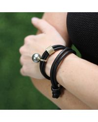 Mizuki Black Pearl And Diamond Slider Wrap Bracelet/choker