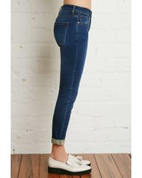 Forever 21 - Blue Mid Rise Cuffed Ankle Jeans - Lyst