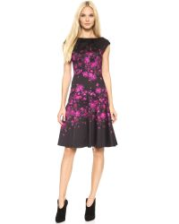 Lela Rose Cap Sleeve Drop Waist Dress - Magenta/Black