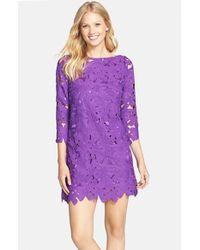 85d316e34ae Women's Purple Floral Lace Shift Dress