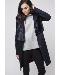 TOPSHOP | Blue Wool Blend Faux Fur Hybrid Coat | Lyst