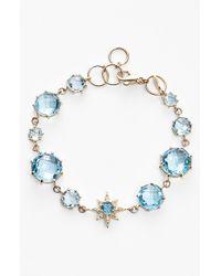Anzie | Blue 'aztec' Topaz & Diamond Line Bracelet | Lyst