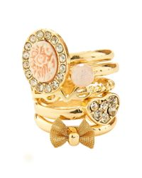 Aéropostale | Metallic Rose Ring 5-pack | Lyst