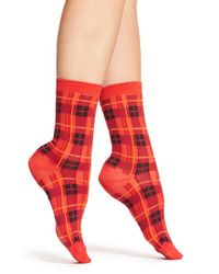 kate spade new york | Red 'woodland Plaid' Trouser Socks | Lyst