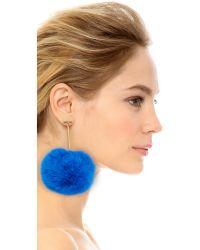 Tuleste | Metallic Pom Pom Long T Drop Earrings | Lyst