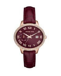 Michael Kors - Metallic Whitley Pavé Rose Goldtone Stainless Steel & Crocodile-embossed Leather Strap Watch - Lyst