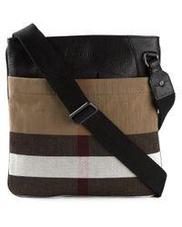 Burberry | Black Haymarket Check Messenger Bag for Men | Lyst