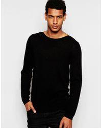 ASOS | Black Merino Boat Neck Sweater for Men | Lyst