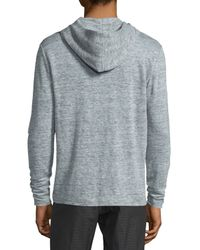 Theory Gray Colton Long-sleeve Hooded Linen T-shirt for men