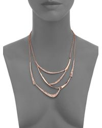 Alexis Bittar | Pink Miss Havisham Jagged Crystal Draped Bib Necklace/rose Goldtone | Lyst