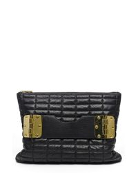 hayden-harnett Black 'bowdoin' Quilted Leather Clutch