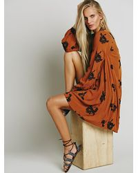 Free People - Brown Embroidered Austin Dress - Lyst