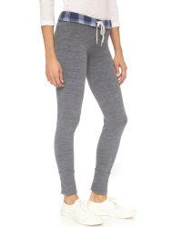 Monrow - Gray Plaid Fold Over Sweatpants - Lyst