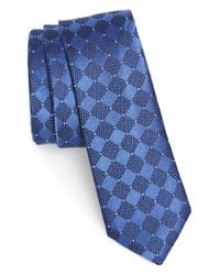 Calibrate - Blue 'afognak Neat' Diamond Pattern Silk Tie for Men - Lyst
