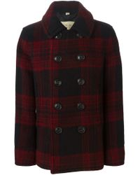 Burberry Brit - Red Double Breasted Check Coat for Men - Lyst