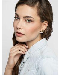 BaubleBar Metallic Matte Lashed Out Ear Jackets-white/gold