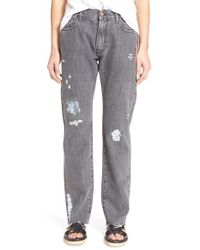 Aries Gray 'simon' Foiled Destructed Jeans