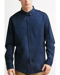 Forever 21 | Blue Classic Button-collar Shirt for Men | Lyst